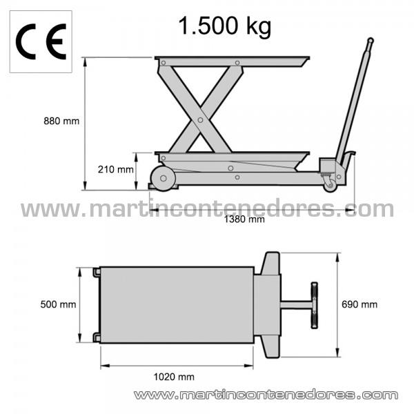 Table élévatrice capacité de charge 1500 kg