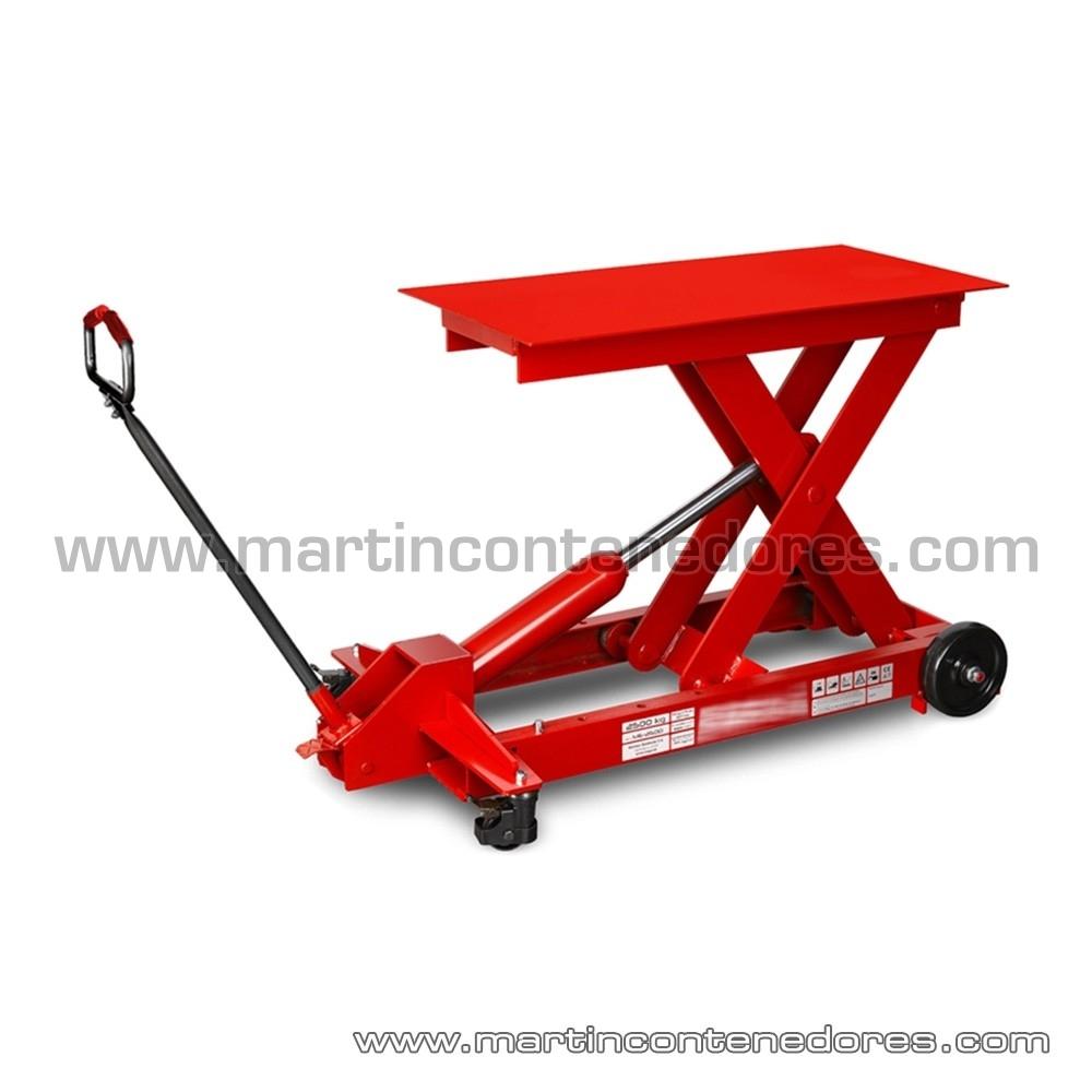 Mesa elevadora color rojo y gris nuevo capacidad de carga 2500 Kg