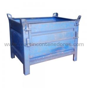 Conteneur tôlé avec clapet bleu
