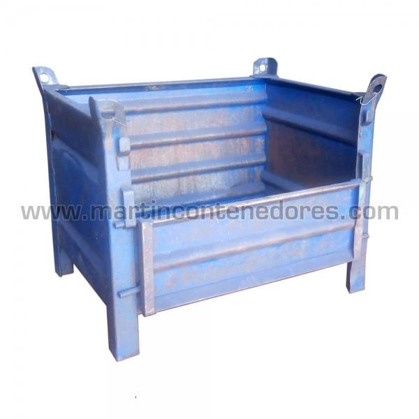 Contenedor Metálico color azul fabricado en chapa nevada
