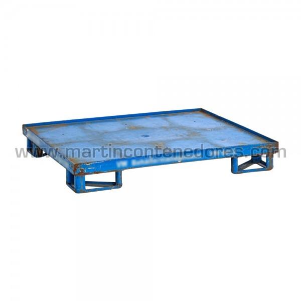 Palet metálico usado color azul