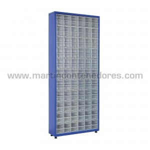 Metal rack with 132 plastic...