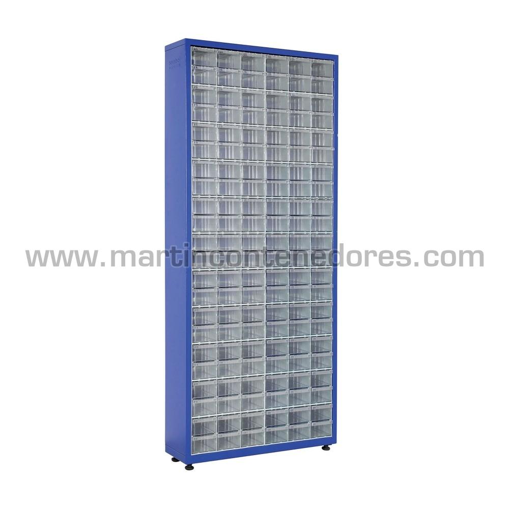 Armario metálico consta de 132 unidades de gaveta plástica color azul nuevo