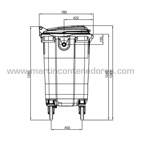 Conteneur pour déchets capacité de charge 310 kg