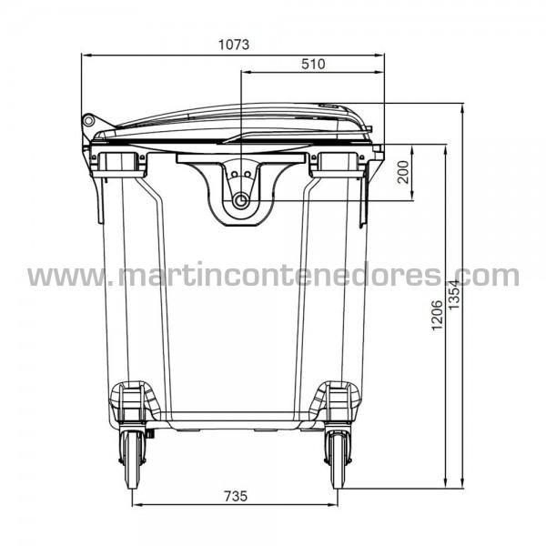Conteneur pour déchets capacité de charge 510 kg