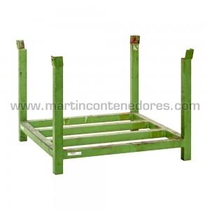 Rack metálica versátil para palets color verde apilable