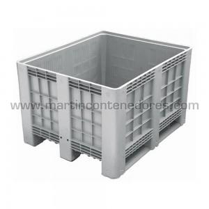 Contenedor plástico con 3 patines calidad alimentaria nuevo con base y paredes perforadas