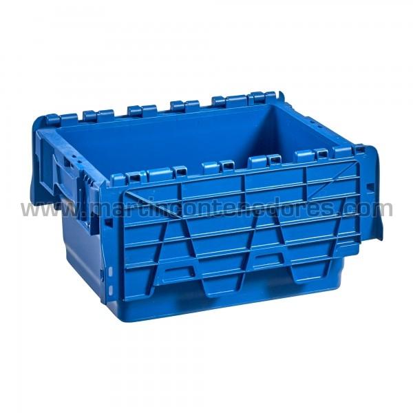 Caja plastica con porta - etiquetas nuevo color azul