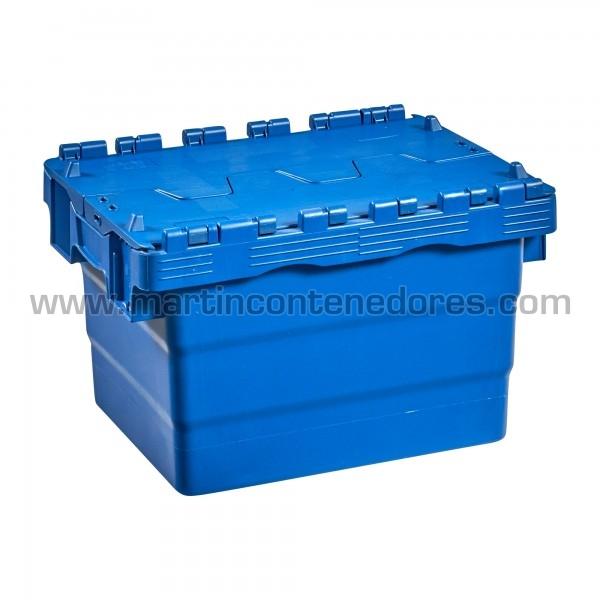 Caja plastica con tapa color azul nuevo