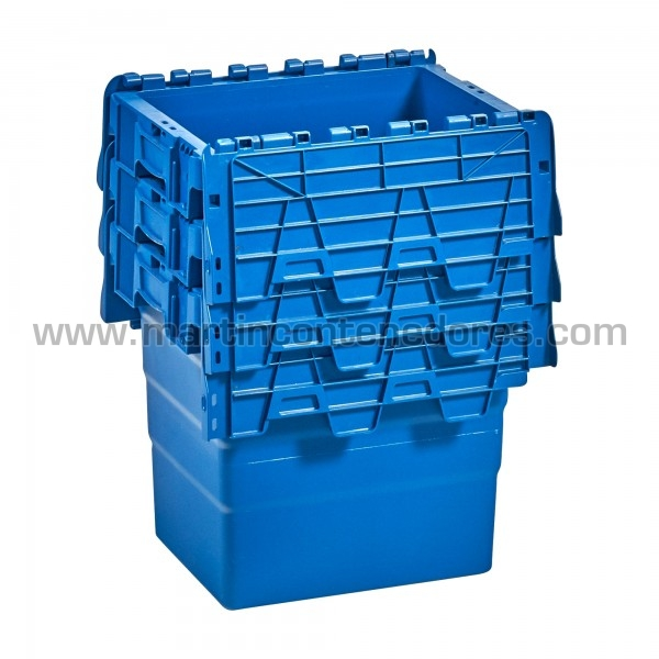 Caixa encaixável com tampa e porta etiquetas