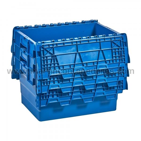 Caja plástica apilable nueva color azul