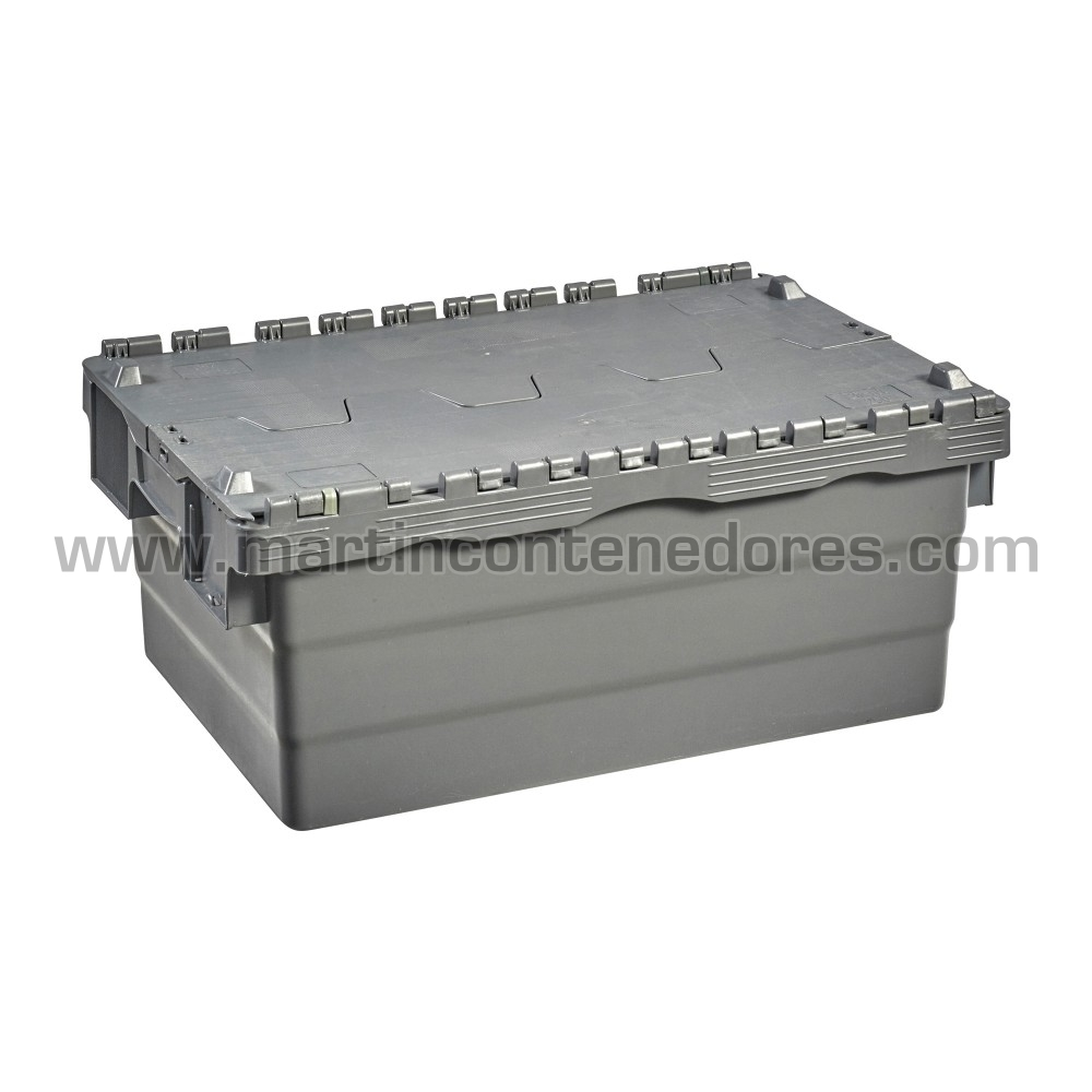 caja plastico apilable con tapa e porta - etiquetas