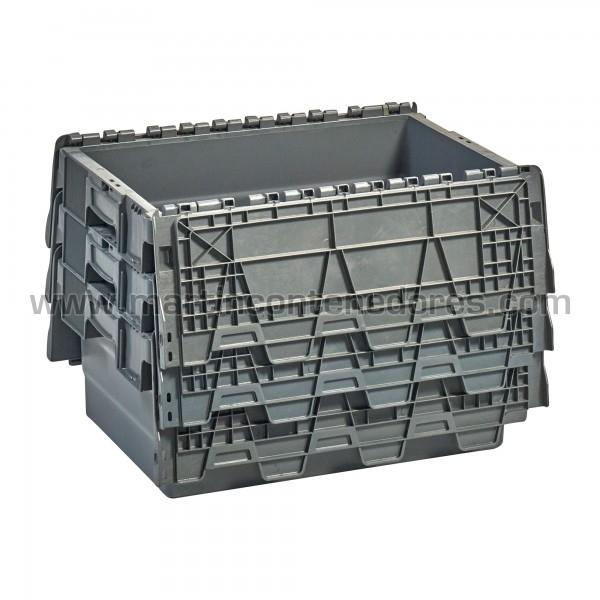 Cajas plasticas con asa cerrada color gris