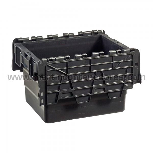 Caja plastica con asa cerrada color negro