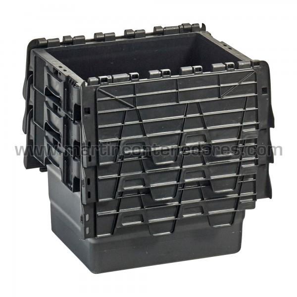 Caja plastica nueva con porta - etiquetas color negro