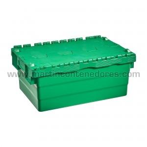 Caja con 4 portaetiquetas y asas integradas ergonómicas.