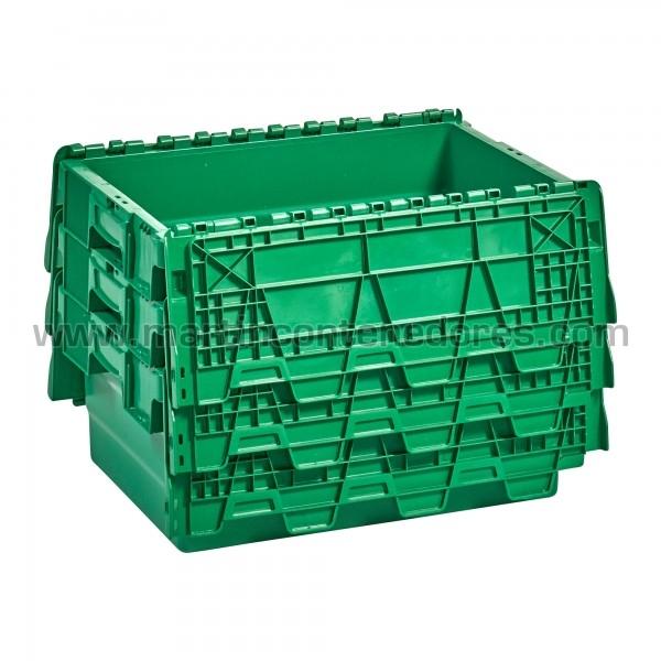 caja plastica apilable nueva de color verde