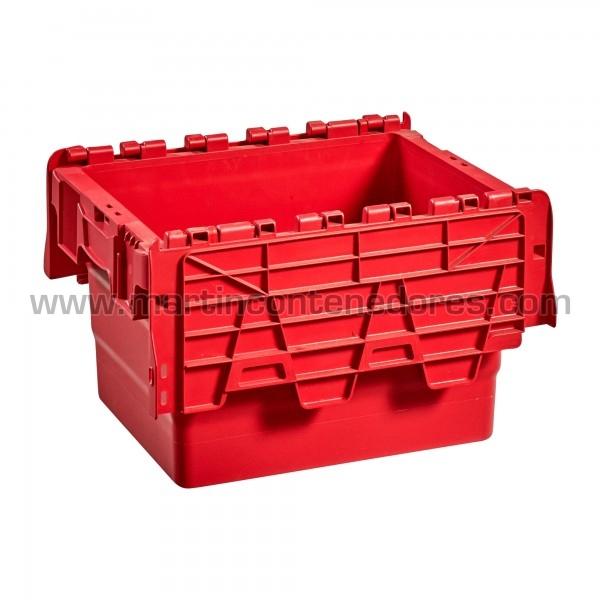 Caja plastica con tapa color rojo nueva