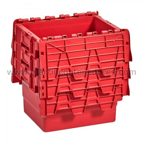 Caja plastica encajable con asa cerrada