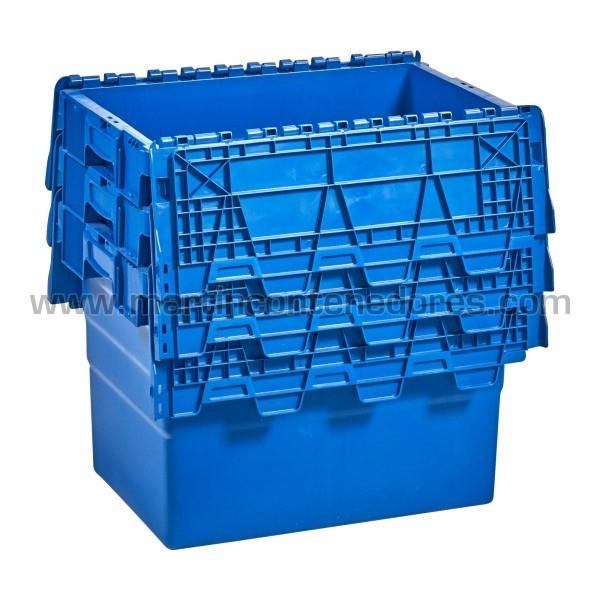 Caja plastica con porta etiquetas nueva color azul