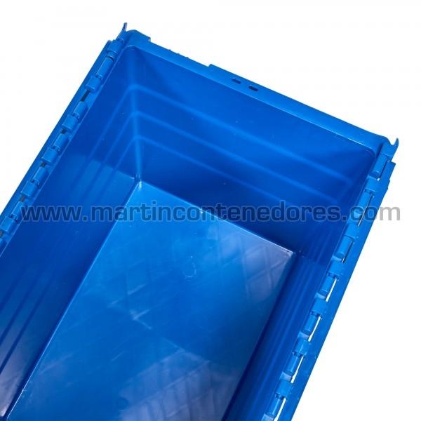 Caja plastica nueva color azul apilable
