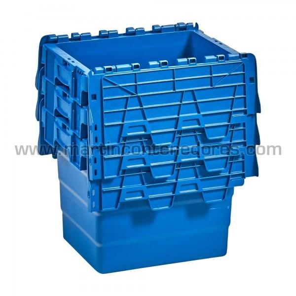 Caja plastica con asa cerrada color azul nueva