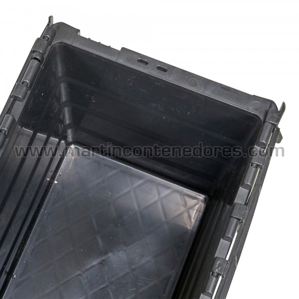 Caja plastica nueva con asa cerrada apilable