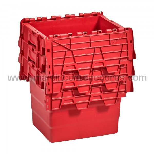 Caja plastica apilable color rojo nueva