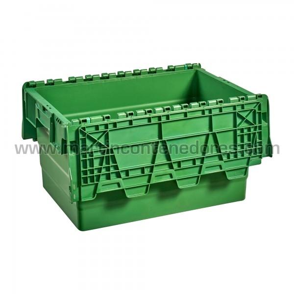 Caja plastica con tapa color verde nueva