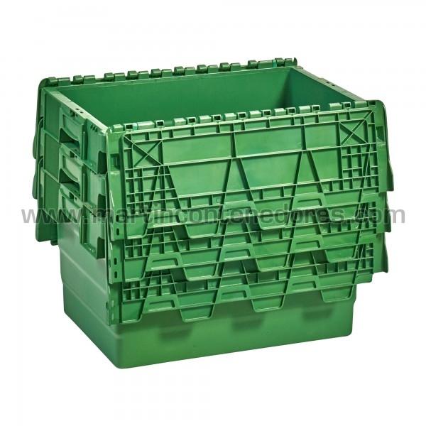 Caja plastica con asa cerrada color verde con porta etiquetas