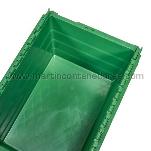 Caja plastica con tapa y asa cerrada color verde