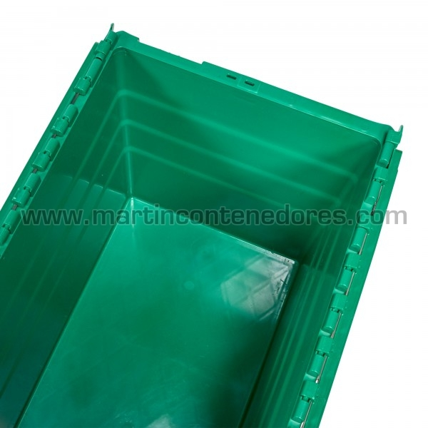 Caja plástica nueva color verde con asa cerrada