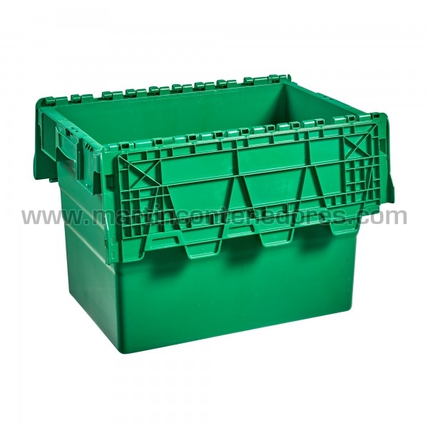 Caja plastica con asa cerrada nueva color verde