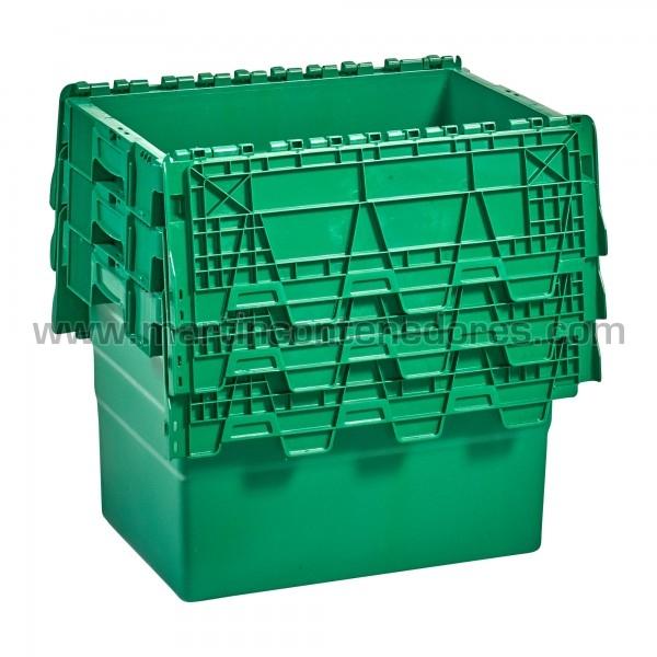 Caja plastica con porta etiquetas nueva color verde