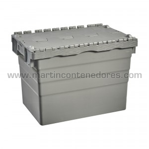Caja plastica con tapa nueva color gris