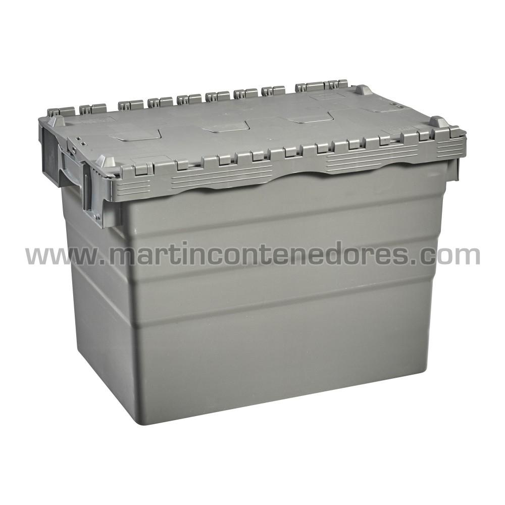 Caja plastica con tapa nueva color gris