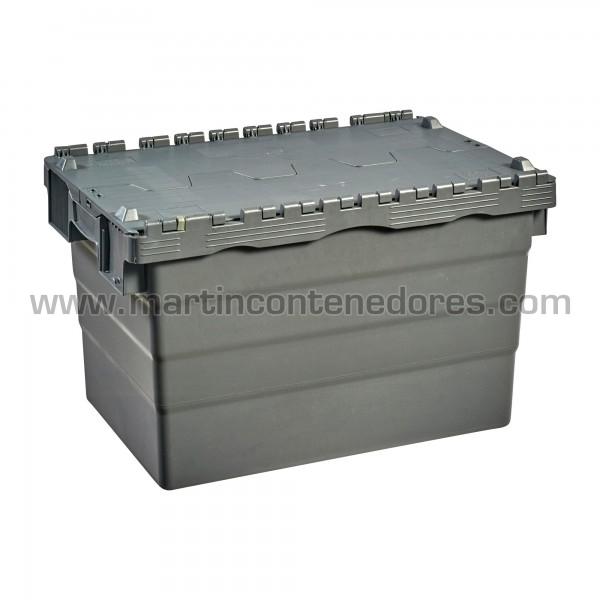 Caja con tapa y porta etiquetas color gris nueva