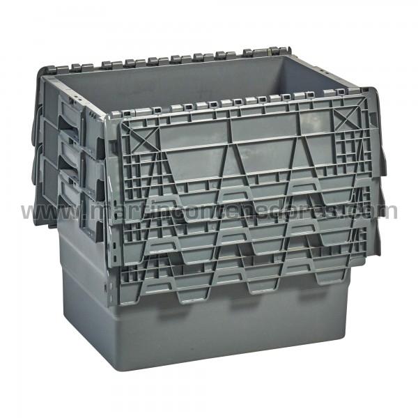 Caja plastica apilable nueva color gris con asa cerrada