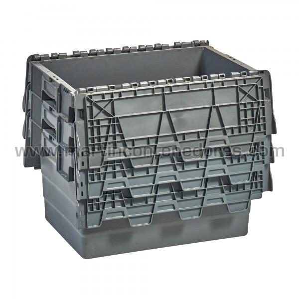 Caja plastica con porta etiquetas apilable nueva