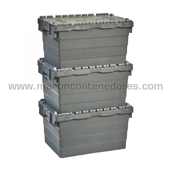Caja plastica encajable color gris nueva