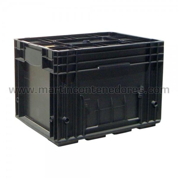 Caja plastica con  base reforzada color negro
