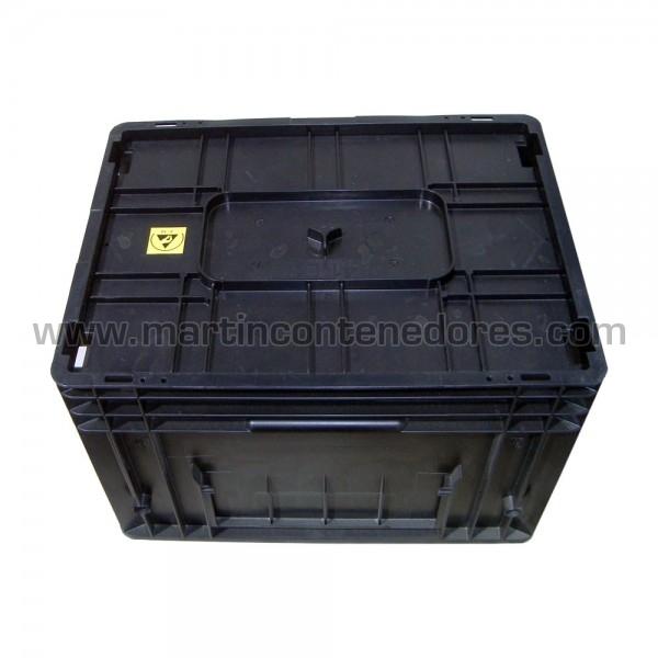 Caja plastica apilable color negro R-KLT