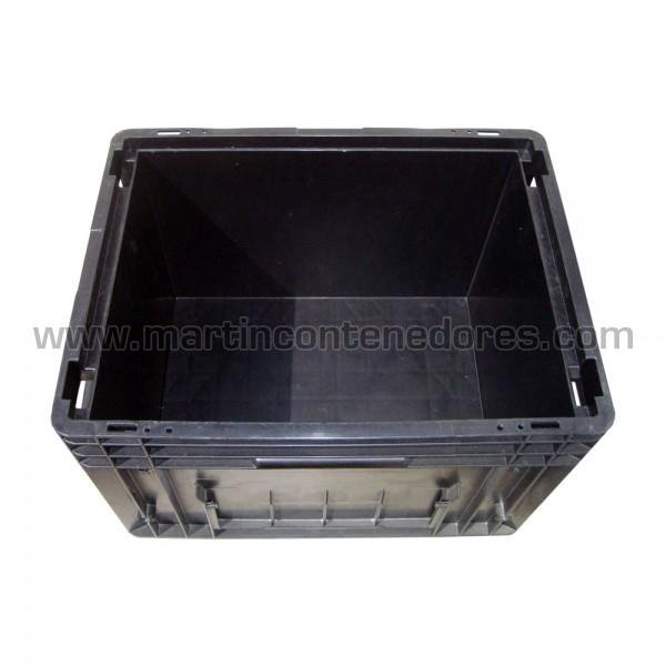 Caja plastica color negro con asa cerrada usado