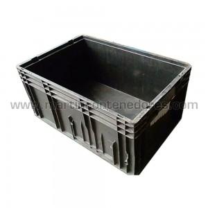 Caja KLT-ESD conductiva ocasion color negro apilable