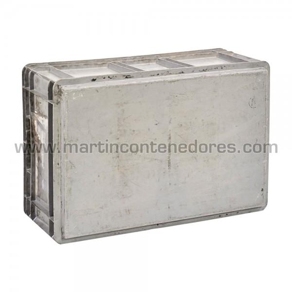 Caja plástica asa pasante apilable color gris