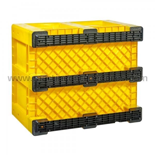 Caisse palette plastique avec 9 traîneaux