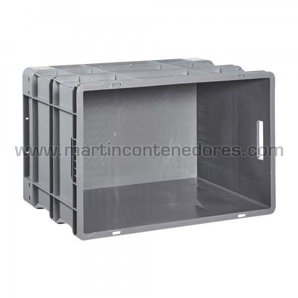 Caja plástica con asa pasante color gris