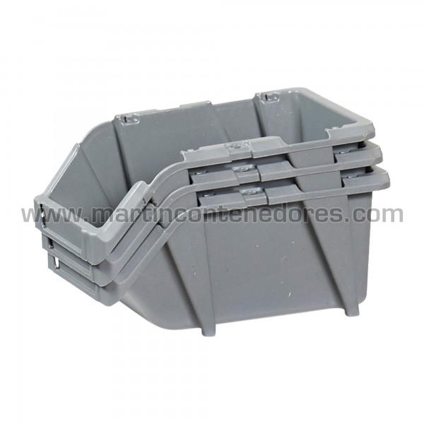 Gaveta plástica visualizadora apilable color gris