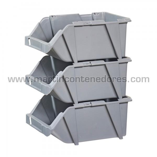 Gaveta plástica visualizadora encajable color gris