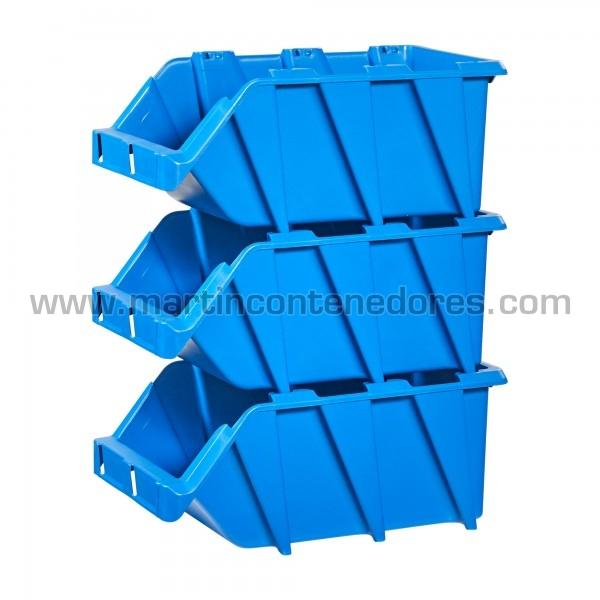 Gaveta plástica visualizadora encajable color azul